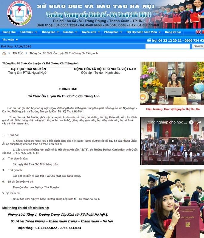 Thông báo tổ chức lớp ôn tập và thi chứng chỉ tiếng Anh sau đó đã được gỡ bỏ khỏi trang web của trường. Ảnh chụp màn hình.