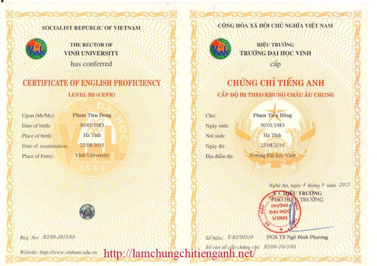 Nhận làm chứng chỉ tiếng anh tin học tại Hà Nội uy tín 95%